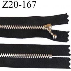fermeture zip à glissière longueur 20 cm couleur noir non séparable zip métal alu largeur 2.7 cm largeur du zip 4 mm