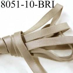 Elastique plat largeur 10 mm couleur gris argent marron glacé brillant superbe  très belle qualité haut de gamme prix au mètre