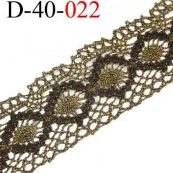dentelle crochet style ancien  en coton et synthétique largeur 40 mm couleur noir et vieille or doré prix au mètre
