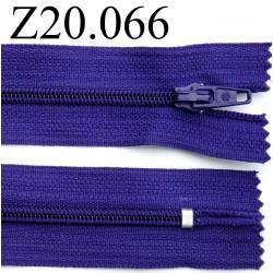 fermeture éclair longueur 20 cm couleur violet non  séparable zip nylon largeur 2.5 cm