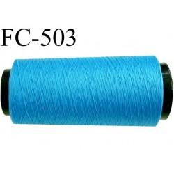 Cone de fil mousse polyamide fil n° 180 couleur bleu  longueur du cone 5000 mètres bobiné en France