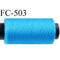 Bobine de fil mousse polyamide fil n° 180 couleur bleu  longueur  500 mètres bobiné en France