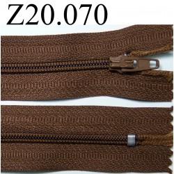 fermeture éclair longueur 20 cm couleur marron non  séparable zip nylon largeur  2.5 cm