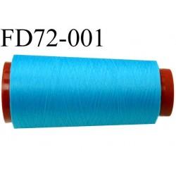 destockage  Cone de fil mousse polyamide n° 140 couleur bleu turquoise longueur  2000 mètres bobiné en France