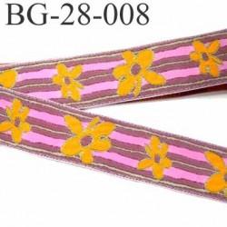 galon ruban sangle fine épaisseur 1 mm couleur vieux rose liseret vert fleur orange et rose superbe largeur 28 mm prix au mètre