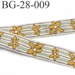galon ruban sangle fine épaisseur 1 mm couleur crème vert et fleur or liseret marron superbe largeur 28 mm prix au mètre