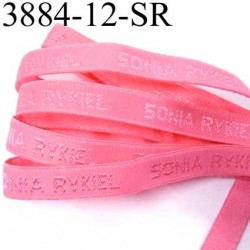 Elastique de marque sonia rykiel inscription en surpiquage couleur rose corail largeur 12 mm prix au mètre