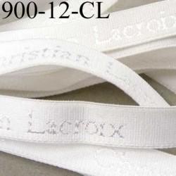 Elastique de marque Christian Lacroix inscription en surpiquage couleur blanc largeur 12 mm prix au mètre