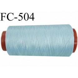 Cone de fil mousse polyester n° 110 polyester couleur bleu  longueur 5000  mètres bobiné en France