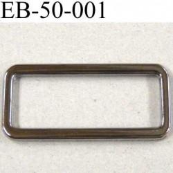 Boucle etrier rectangle en métal couleur acier chromé largeur extérieur 5.2 cm intér 4.6 cm hauteur extér 2.3 cm intér 1.5 cm
