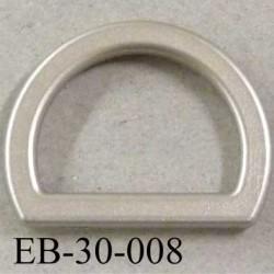 Boucle étrier demi rond en pvc couleur gris argent largeur extérieur 3 cm intérieur 2.2 cm idéal sangle de 2 cm hauteur 2.2 cm