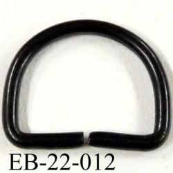 Boucle étrier demi rond métal couleur noir brillant largeur extérieur 2.1 cm intérieur 1.7 cm idéal sangle 1.5 cm hauteur 1.8 cm