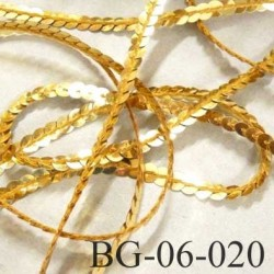 galon ruban sequin magnifique largeur 6 mm couleur or doré très brillant prix au mètre
