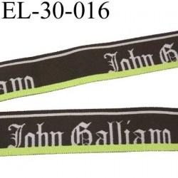 élastique très très belle qualité du créateur John Galliano couleur marron gris et anis superbe largeur 30 mm  prix au mètre