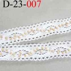 dentelle crochet ancienne 100% coton largeur 23 mm couleur blanc avec perles crème ou sable prix au mètre