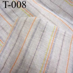 tissus 100 % coton légèrement ajouré couleur écru a rayures largeur 155 centimètre  prix au mètre