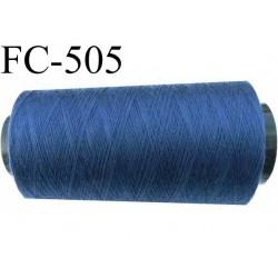 CONE de fil polyester fil n° 40 couleur bleu jean  longueur de 1000 mètres bobiné en France