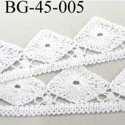 galon dentelle crochet largeur 45 mm en coton couleur blanc