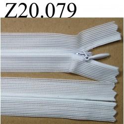 fermeture éclair longueur 20 cm blanc invisible non séparable zip nylon largeur 2,5 cm