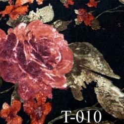 tissus synthétique  jersey maille couleur noir et fleurs rouge écru largeur 140 cm prix pour 10 cm