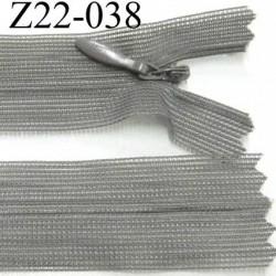 fermeture zip à glissière invisible  longueur 22 cm largeur 2.5 cm couleur gris non séparable glissière 4 mm