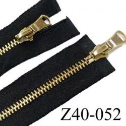 fermeture zip coton couleur noir largeur 2.8 cm à  longueur 40 cm non  séparable double curseur glissière métal doré 4 mm