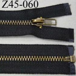 fermeture zip à glissière longueur 45 cm couleur noir séparable largeur 2.8 cm glissière métal laiton largeur 5 mm