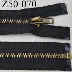 fermeture zip à glissière longueur 50 cm couleur noir séparable largeur 2.8 cm glissière métal laiton largeur 5 mm