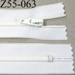 fermeture zip à glissière longueur 55 cm couleur blanc non séparable largeur 2.5 cm glissière nylon largeur 4 mm