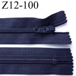 fermeture zip  à glissière longueur 12 cm couleur bleu marine non séparable largeur 2.5 cm glissière nylon  zip du 4 mm