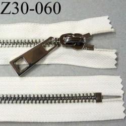 fermeture zip à glissière en métal chromé longueur 30 cm couleur écru non séparable  largeur 3.6 cm zip glissière largeur 8 mm