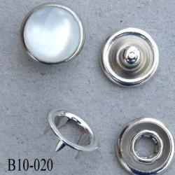 bouton pression à griffe métal chromé couleur façon nacre cristal 5 griffes diamètre 10 mm ensemble de 4 pièces par bouton