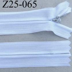 fermeture zip à glissière invisible  longueur 25 cm couleur blanc non séparable largeur 2.3 cm glissière nylon largeur 4 mm