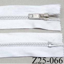 fermeture zip à glissière en coton  longueur 25 cm couleur blanc non séparable largeur 3 cm glissière métal alu largeur 5 mm