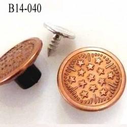 Bouton pour jeans 14 mm en métal couleur cuivre lumineux avec le clou 14 millimètre prix pour le clou et le bouton