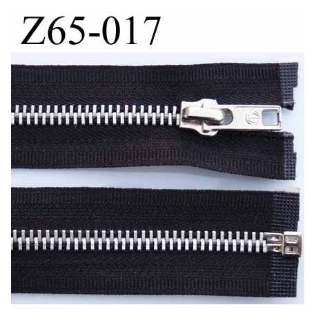 fermeture zip à glissière longueur 65 cm largeur 3 cm couleur noir séparable et glissière métal  largeur 6 mm