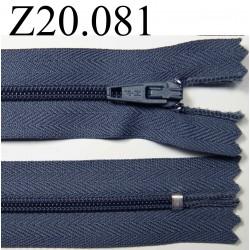 fermeture éclair longueur 20 cm couleur gris  non séparable zip nylon largeur 2,5 cm