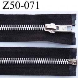 fermeture zip à glissière longueur 50 cm largeur 3 cm couleur noir séparable et glissière métal  largeur 6 mm