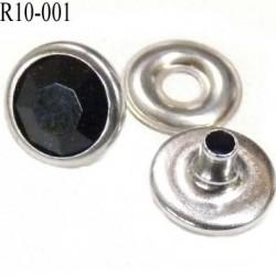 Rivet Strass à facette couleur noir brillant et chromé diamètre 10 mm prix pour un rivets et une rondelle