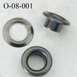 Oeillet en métal couleur acier   diamètre extérieur 8 mm diamètre intérieur 4 mm hauteur 4 mm