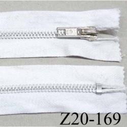 fermeture zip à glissière en coton  longueur 20 cm couleur blanc non séparable largeur 3 cm glissière métal alu largeur 5 mm