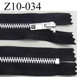 fermeture zip à glissière longueur 10 cm couleur noir non séparable largeur 3 cm glissière métal largeur du zip 6 mm