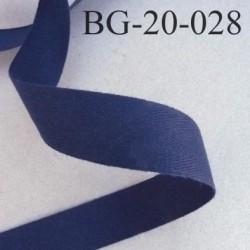 Biais sergé qualité supérieur 100 % coton semi rigide largeur 20 mm couleur bleu marine fabrication française prix au mètre