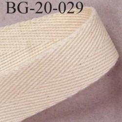 Biais sergé qualité supérieur 100 % coton largeur 20 mm couleur écru  souple et très doux prix au mètre