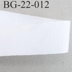 Galon ruban gros grain largeur 22 mm couleur blanc 45 % viscose 55 % coton très solide