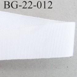Galon ruban gros grain largeur 22 mm couleur blanc 45 % viscose 55 % coton très solide