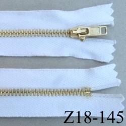 fermeture zip à glissière en coton longueur 18 cm couleur blanc non séparable largeur 3 cm glissière métal doré largeur 4 mm