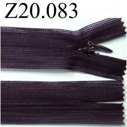 fermeture éclair invisible longueur 20 cm couleur prune non séparable zip nylon largeur 2,5 cm