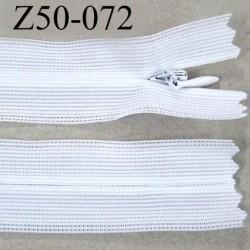 fermeture zip à glissière invisible longueur 50 cm couleur blanc non séparable largeur 2 cm glissière nylon largeur 4 mm