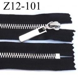 fermeture zip longueur 12 cm couleur noir non séparable largeur 3 cm glissière métal chromé vraiment superbe largeur 6 mm